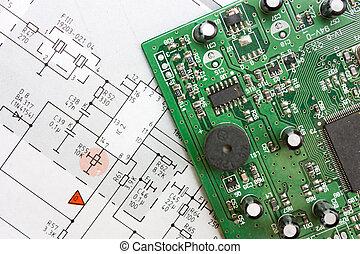 schematisk diagram, och, elektronisk planka