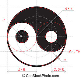 Scheme for drawing of Yin and Yang abstract symbol