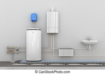 Scheme heating in homes. 3d illustration