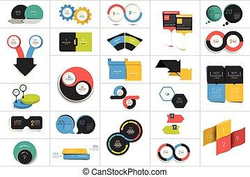 scheme., mega, 圖表, 二, design., 環繞, 步驟, 輪, 元素, 圖形, 集合