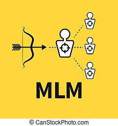 Scheme of multilevel marketing. Icon MLM. Vector bow and...