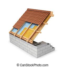 scheme of waterproofing roofs, attic. 3D illustration