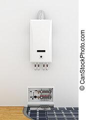 Scheme underfloor heating. The boiler collector