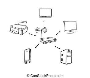 scheme wi-fi concept on white background