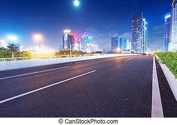 schemering, guangdong, straat, china, sporen, licht