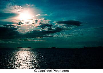 schemering, hemel, tropische , panoramisch, dramatisch, ondergaande zon , zee