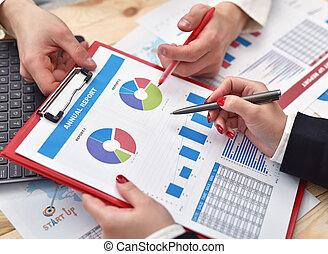 schemi, analizzare, umano, mani affari