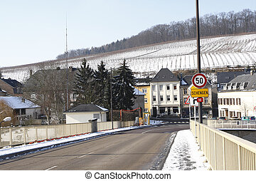 schengen - view of schengen from germany border