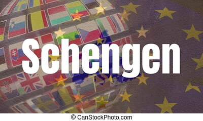 Schengen text against EU flag and globe made of flags of ...