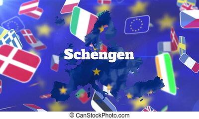 Schengen text over EU map against flags of european ...