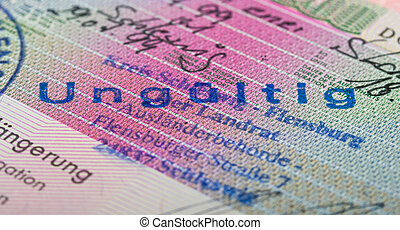 Schengen visa in passport. Fragment