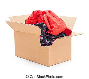 schenking, gekleurde, kleding, in doos, vrijstaand, op wit