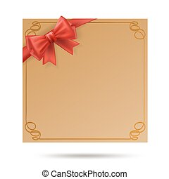 schenking kaart, met, gouden, kolken, frame, en, rood, ribbon., rode boog, versiering, op, viering, card., vector, illustratie