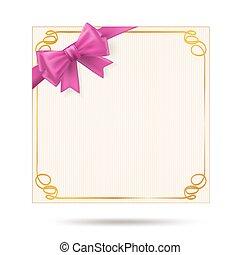 schenking kaart, met, gouden, kolken, frame, en, roze, ribbon., roze, boog, versiering, op, viering, card., vector, illustratie