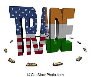 schepen, amerikaan indiaas, container, handel