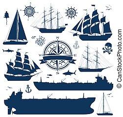 schepen, set, tankers, jachtboten, zeilend