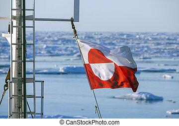 schepen, vlag, groenland, -, mast