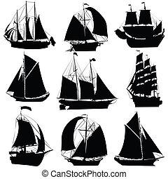 schepen, zeilend, verzameling