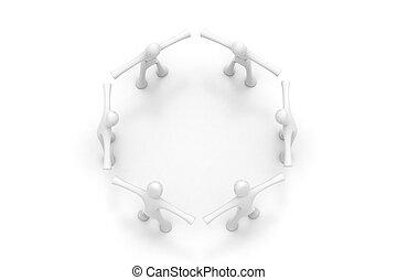 scheppen, 3d, cirkel, mensen