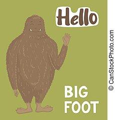 schepsel, schattig, monster, groot, vector, ontwerp, bigfoot