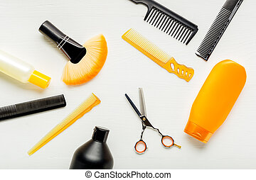 schere, haarschnitt, salon, background.hairbrush, werkzeuge...