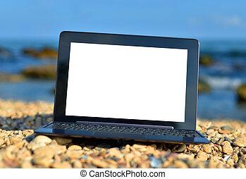 scherm, aantekenboekje, leeg