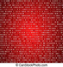 scherm, code, binair, rood