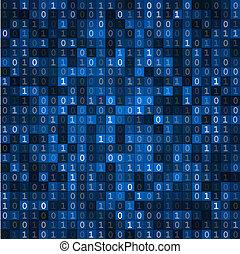 scherm, code, blauwe , binair