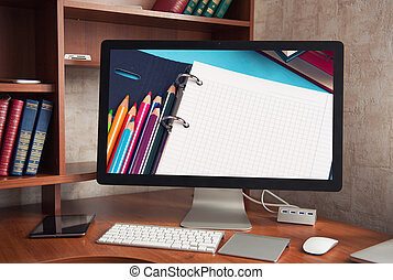 scherm, computer, display, witte , leeg