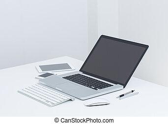 scherm, computer, draagbare computer, gedget, leeg