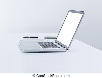 scherm, computer, draagbare computer, leeg