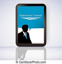scherm, computer, zakelijk, tablet, man