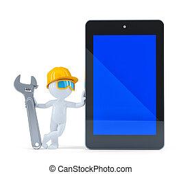 scherm, de arbeider van de bouw, tablet, leeg
