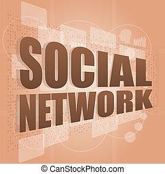 scherm, digitale , woord, netwerk, sociaal