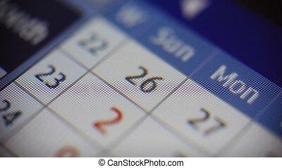 scherm, door, kalender, het wegknippen