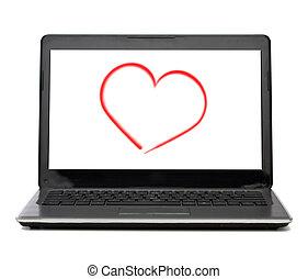 scherm, hart, laptop computer, witte