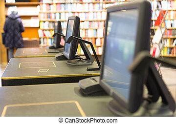 scherm, in, bibliotheek