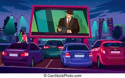 scherm, lucht, groot, open, horloge, bioscoop, onder