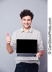 scherm, man, draagbare computer, het tonen, leeg