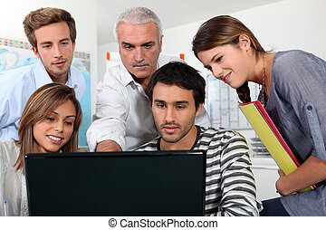 scherm, mensen, groep, schouwend