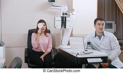 scherm, oogheelkunde, jonge, behandeling, -, visueel,...