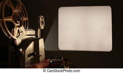 scherm, projector, film, leeg