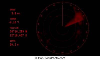 scherm, -, radar, rennende , animatie, rood, straal