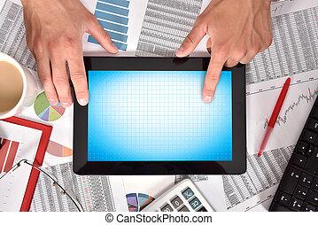 scherm, tablet, leeg