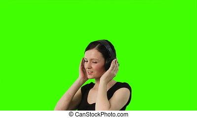 scherm, vrouw, groene, dancing