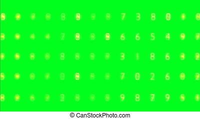 scherm, willekeurig, toevallig, groene, getallen