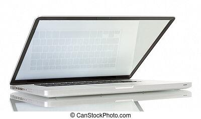 scherm, witte , draagbare computer, leeg