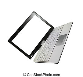 scherm, witte , draagbare computer, vrijstaand