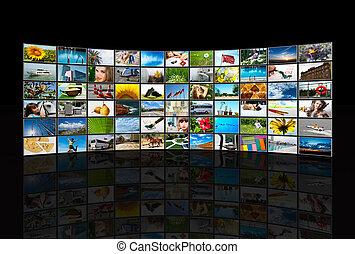 schermen, multimedia, paneel