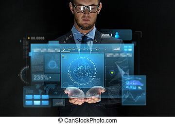 schermen, zakenman, op, black , feitelijk